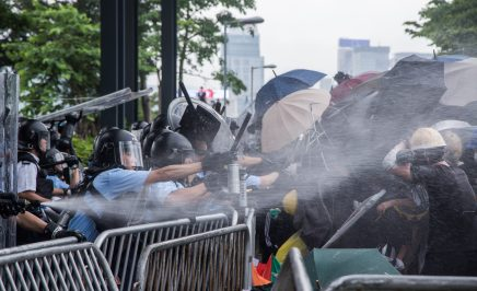 Protesters in Hong Kong clash with police.