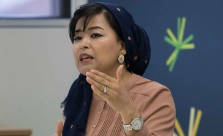 Najeeba Wazefadost speaking at a conference. She is a member of Amnesty's Refugee Advisory Group