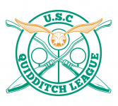 Logo of USC Quidditch League with golden snitch in the centre, crossed broomsticks and circular hoops