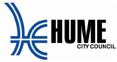 Blue curved shapes and black text saying Hume City Council