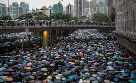 A sea of umbrellas stretching into the distance as thousands protest a proposed extradition bill that would allow people from Hong Kong to be extradited to China.