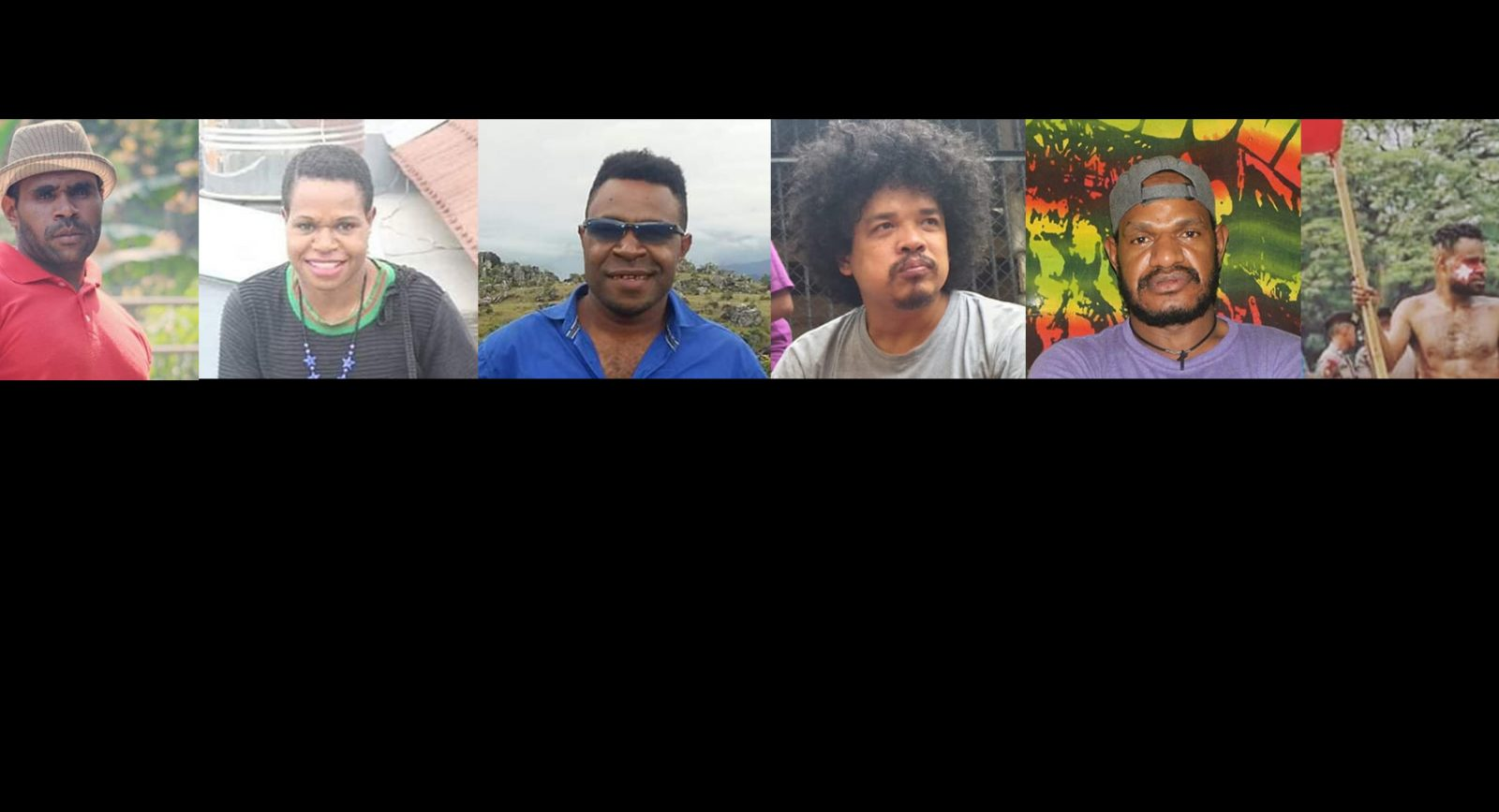 6 West Papuan activists - casual photos in a grid.