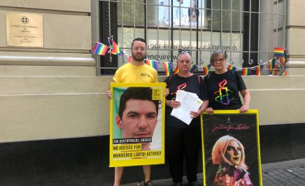 LGBTQI+ group petition handover at Greek consulate in Sydney.