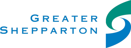 Greater Shepparton City Council Logo with blue text and a blue and green swirl to the right of the text