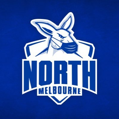north melbourne football club logo, a blue outline of a kangaroo head wiith a mask over the text north melbourne on a white and blue background