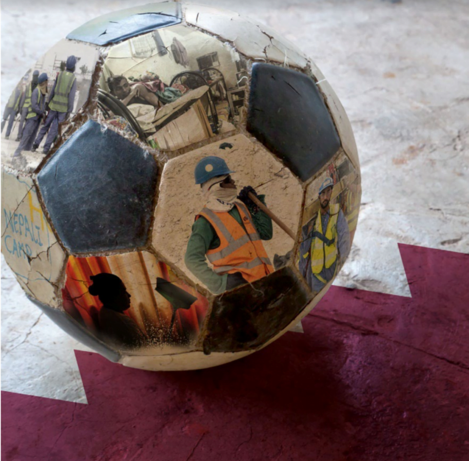 A soccer ball with images of migrant workers on the Qatar flag