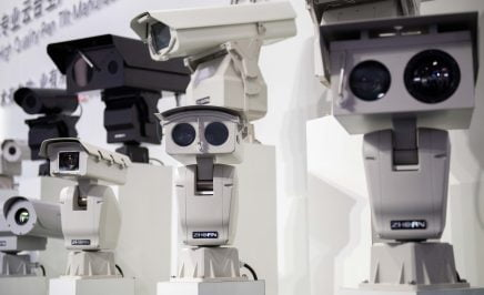 AI (artificial intelligence) security cameras using facial recognition technology are displayed at the 14th China International Exhibition on Public Safety and Security at the China International Exhibition Center in Beijing