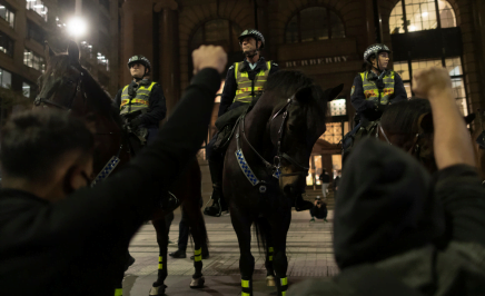 Police on horseback at a protest in NSW