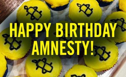 yellow cupcakes with Amnesty Candles