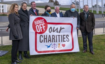 Charities gather outside Parliament House to speak out against Federal Laws