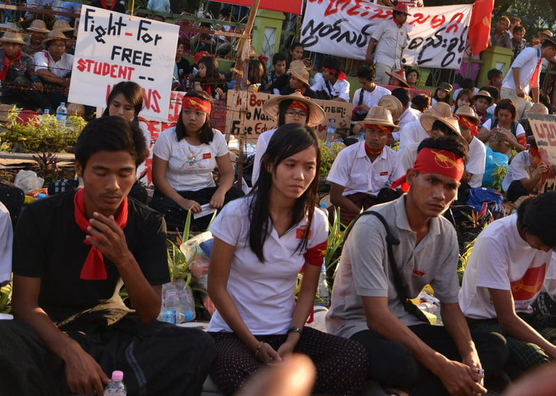Phyoe Phyoe Aung (centre) during a protest against the National Education Law in November 2014.